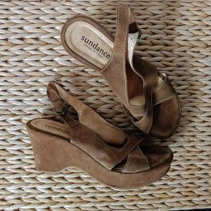 Sundance Suede Platform Wedge Sandals Sz 6.5